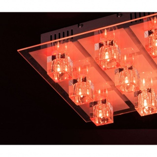 LeuchtenDirekt 50385-17 Oki LED Deckenleuchte 9 x G4 14W + 9 x LED 0, 36W RGBK Silberfarben - Vorschau 4