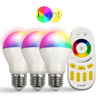 Starter-Set 3x E27 iLight LED + Fernbedienung RGB + CCT LED Leuchtmittel Lampe