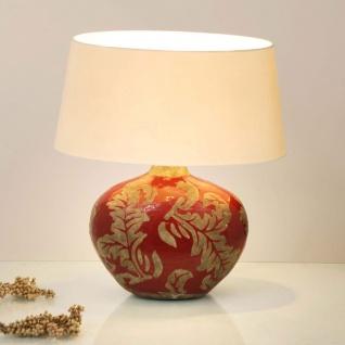 Holländer 057 K 1206 Tischleuchte Toulouse Oval Keramik Glasiert Rot-Schlamm