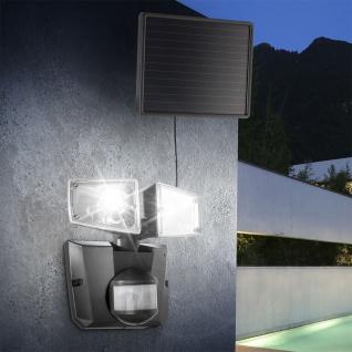 LED Solar-Strahler 2-flammig mit Bewegungsmelder Dunkelgrau Gartenlampe