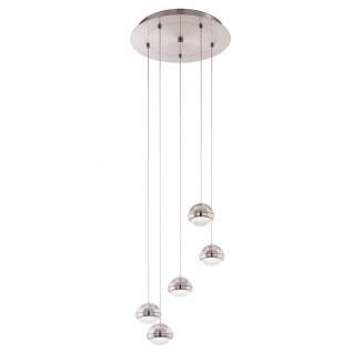 Eglo 94301 Lombes LED Hängeleuchte 5 x 45 W Stahl Alu Nickel-Matt Kunststoff klar