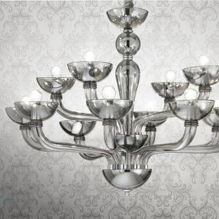 Ideal Lux 44255 Casanova mundgeblasener Glas-Lüster 90cm Chrom Klar