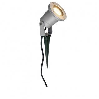 SLV Nautilus Spike silbergrau GU10 max. 35W inkl. 1, 5m Kabel mit Stecker 227418