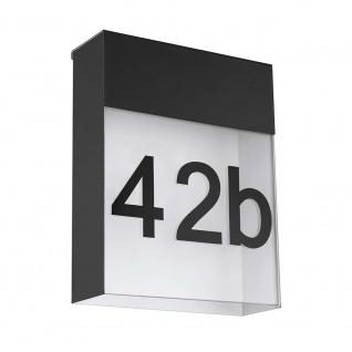 LED Hausnummer Aussen-Wandleuchte Ponso mit Hausnummer Anthrazit