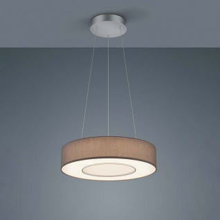 Helestra LED Hängelampe Lomo Nickel-Matt Chrom Schirm Chintz Mocca