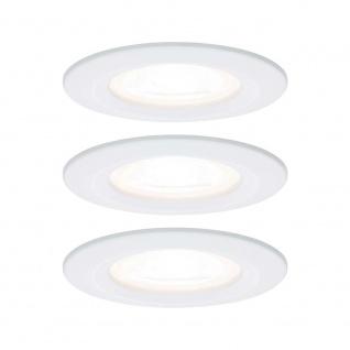 Paulmann Einbauleuchten-Set Nova rund starr LED IP44 3-stepdim 3x6, 5W 230V GU10 51mm Weiß matt/Alu Zin 93478