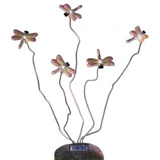 LED Solarleuchte Libelle Assisi Steinoptik 5-flg. Solar Gartenlampe Gartenleuchte