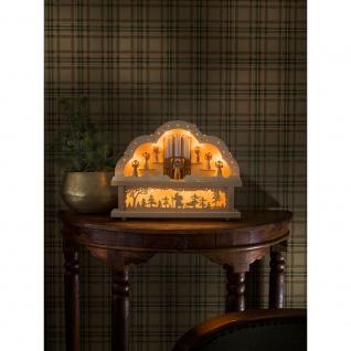 LED Holzleuchter naturfarben Engelschor 10 Warmweiße Dioden 4.5V batteriebetrieben für Innen