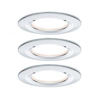 Paulmann Einbauleuchten-Set Nova rund starr LED IP44 3-stepdim 3x6, 5W 230V GU10 51mm Chrom/Alu Zink 93481