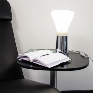 s.LUCE Grind Tischleuchte mit Opalglas Ø 16cm Weiss & Chrom Tischlampe Kugelleuchte