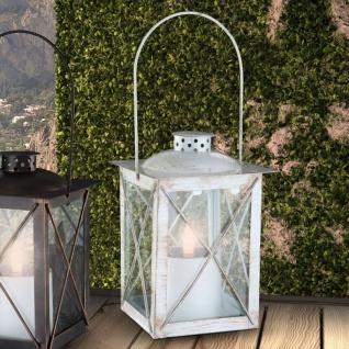 LED Solar Laterne Flacker-Effekt Weiß-Goldfarben patiniert Solar Gartenlampe Gartenleuchte