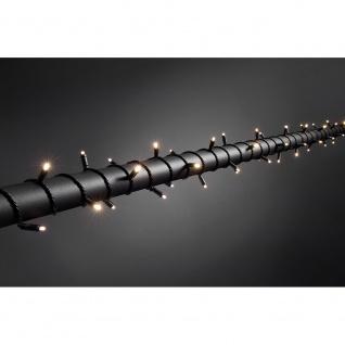 Konstsmide 6621-117 Micro LED Lichterkette mit Dimmer schutzisoliert/umgossen IP67 80 warmweisse Dioden 24V Außentrafo schwarzes Soft-Kabel