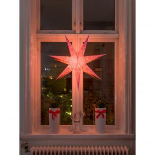 Konstsmide 2982-134 Pinker Papierstern, perforiert und pink bestickt, 7 Zacken, inkl. Anschlusskabel mit an/aus Schalter, ohne Leuchtmittel, E14 Lampenhalterung für Innenbereich