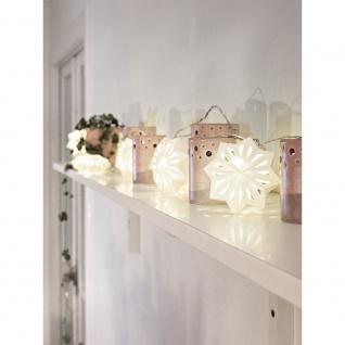 LED Dekolichterkette weiße Papierschneeflocken 12 Warmweiße Dioden 24V Innentrafo