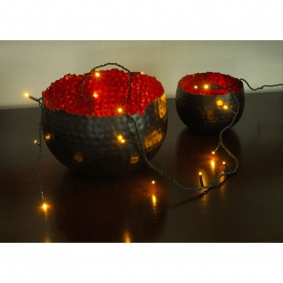 Konstsmide 6352-820 Micro LED Lichterkette verschweißt 35 bernsteinfarbene Dioden 24V Innentrafo dunkelgrünes Kabel