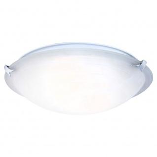 Globo 4078 Fred Deckenleuchte Nickel-Matt Glas alabster Optik Weiß 2x60W E27