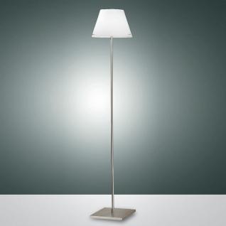 Fabas Luce 2476-10-178 Alexia Stehleuchte 155cm mit LED-Dimmer & Glasschirm Nickel-Satiniert Weiß