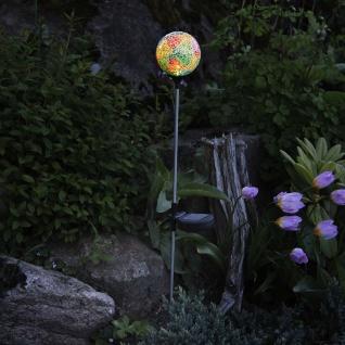 Premium LED Solarspieß mit Mosaikkugel 68cm Edelstahl, Glas Solar Gartenlampe Gartenleuchte