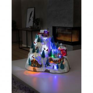 LED Szenerie Skipiste mit Animation Weihnachtsliedern 15 bunte Dioden batteriebetrieben für Innen