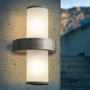 Licht-Trend Boule 2-flg. Aussen-Wandleuchte Edelstahl Weiß Außenwandlampe