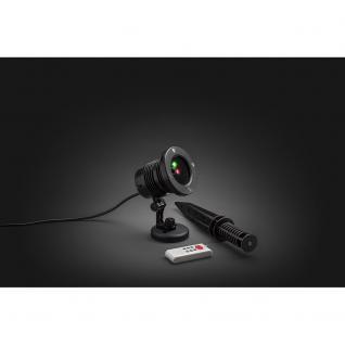 Konstsmide 4530-590 LED Laser, mit bewegten und funkelnden Punkten, mit Fernbedienung, Bewegungssensor und wählbarem 4h/6h und 8hTimer , inkl. Erdspieß, rote und grüne Dioden, 12V Außentrafo - Vorschau 4