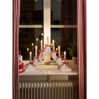 Holzleuchter weiß lackiert mit rot/weißen Schleifen 7 klare Birnen für Innen