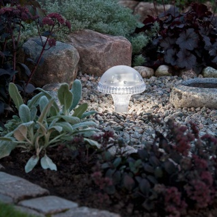 Assisi Pilz Solar LED Leuchte Weiß Solar Gartenlampe Gartenleuchte