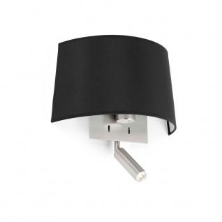 Wandlampe VOLTA mit LED-Leselicht 2700K Nickel, Schwarz