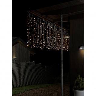 LED Lichtervorhang mit weißen Globes 200 Warmweiße Dioden 24V Außentrafo