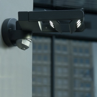 Lutec Mini LED Spot 2-flg. Außenwandleuchte mit Bewegungsmelder IP65 Anthrazit