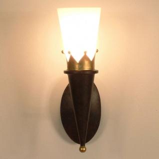 Holländer 300 K 1352 Wandleuchte Torcia Corona Eisen-Glas Braun-Schwarz-Gold