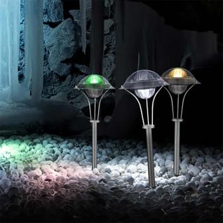 LED Solarleuchte mit Spieß Edelstahl Solar Gartenlampe Gartenleuchte