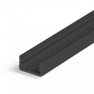 Aufbauprofil mini 200cm Schwarz ohne Abdeckung für LED-Strips