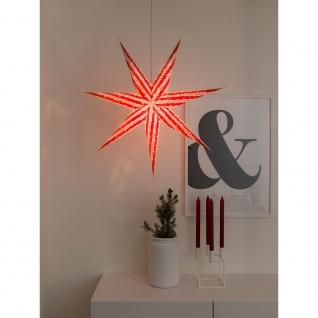 Konstsmide 2922-520 Roter Papierstern, perforiert und mit weiß bedrucktem Muster, 7 Zacken, inkl. Anschlusskabel mit an/aus Schalter, ohne Leuchtmittel, E14 Lampenhalterung für Innenbereich