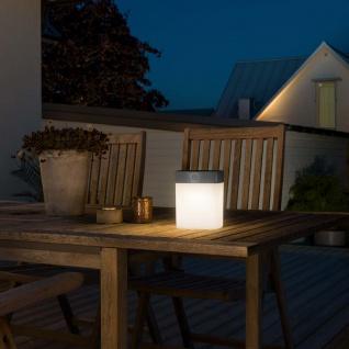 Graue Solar LED Leuchte Assisi mit opalen Acrylglas Solar Gartenlampe Gartenleuchte