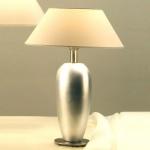 Holländer 039 K 1228 Tischleuchte Lambda Oval Keramik-Metall BlattverSilbert-Vernickelt