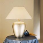 Holländer 039 K 1217 Tischleuchte Gamma Oval Grande Keramik BlattverSilbert