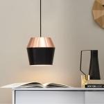 s.LUCE LED Pendelleuchte SkaDa Ø 20cm in Kupfer, Schwarz Esstischleuchte Lampe