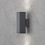 Konstsmide 7907-370 Monza Aussen-Wandleuchte mit doppeltem Lichtkegel Anthrazit klares Glas Reflektor