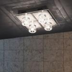LeuchtenDirekt 50295-21 Oki-Bubble LED Deckenleuchte 4 x G4 14W + 4 x LED 0, 36W RGBK Silberfar