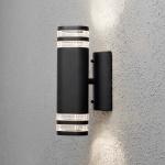 Konstsmide 7516-750 Modena Aussen-Wandleuchte mit doppeltem Lichtkegel Schwarz klares Acrylglas Reflektor