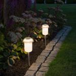 Konstsmide 7809-000 Assisi RGBW LED Solarleuchten-Set 2-tlg. mit abnehmbaren Erdspießen / Weiß