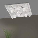 LeuchtenDirekt 50365-17 Kemal LED Deckenleuchte Kristallglas 5 x G4 14W + 62 x LED 0, 05W Chrom