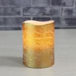 Echtwachskerze mit warmweißer LED Goldfarben Weihnachtskerze LED Kerze