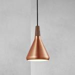Licht-Trend Pinzantero 1 / Kupfer-Pendelleuchte / Ø 18 cm / Walnuss-Holz / Bürobeleuchtung