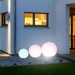 s.LUCE Globe+ / 3er Set Kugelleuchten mit iLight LED + FB / Ø 30, 40, 50 cm / Dekolampe Aussen