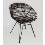 Holländer 358 2716 Stuhl mit Lehne Seguito Rattan-Metall Braun-Schwarz