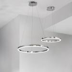 s.LUCE Ring S LED-Hängeleuchte Ø 40cm Chrom Wohnzimmer Hängelampe LED-Ring