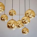 s.LUCE Fairy Spiegelkugel Pendelleuchte Ø 40cm Goldfarben Restaurantbeleuchtung