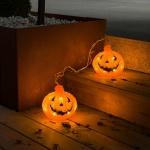 Konstsmide 6137-103 2er-Set LED Halloween Kürbise mit Timer batteriebetrieben